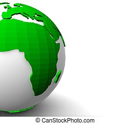 3d green planet earth on white background