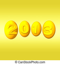 New year 2013. 3d gold