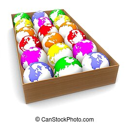 3d box with colorful planets, the earth on a white background