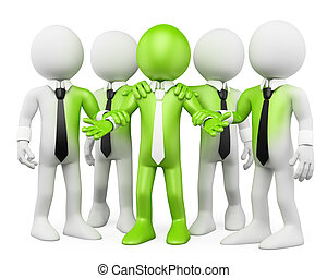 3D white people. Green teamwork
