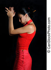 Flamenco dancer - Portrait of hispanic flamenco dancer woman...