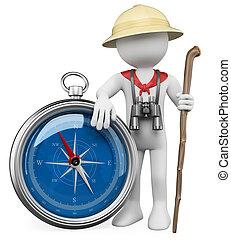 3D, branca, pessoas, explorador, compasso