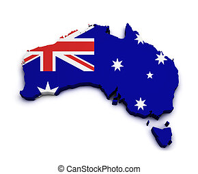 Australia Flag Map Shape - Shape 3d of Australia map with...