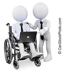 3D white people. Disabled businessman working with a partner...