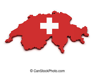Switzerland Map Flag Shape