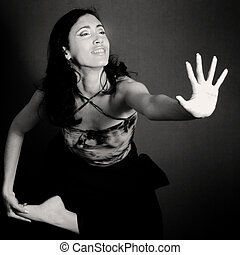 Contemporary dance - Female contemporary dancer doing...