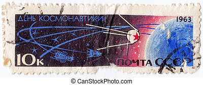 USSR - CIRCA 1963 : stamp printed in USSR shows the soviet...