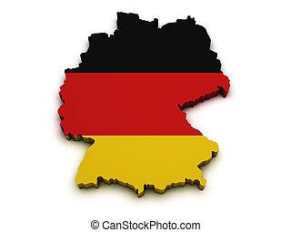 Germany Flag Map Shape