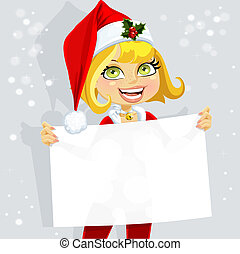 Cute girl in Santa suit hold banner - Cute girl in Santa...