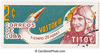 cuba, -, circa, 1975:, francobollo, stampato, cuba, mostra,...
