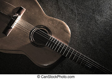 Acoustic guitar - Still life with old acoustic guitar