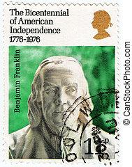 Benjamin, :, estampilla, 1976, -, norteamericano,...