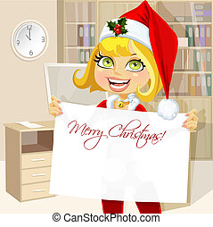 Pretty business woman in office hold banner Merry Christmas