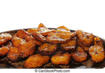 Cuban food - fried banana - Typical cuban dish isolated -...