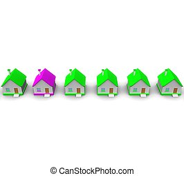 3d purple house in the green