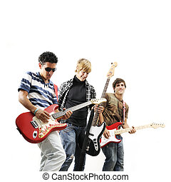 Teen rock band - Young trendy team playing electric bass and...