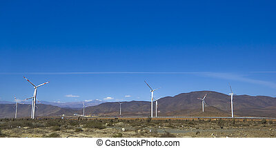 Wind farm in northern Chile, mining regions of Atacama and...