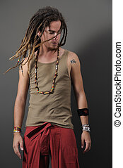 Funky guy with dreadlocks - Portrait of young funky male...