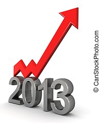 Year 2013 financial success arrow pointing up 3d...