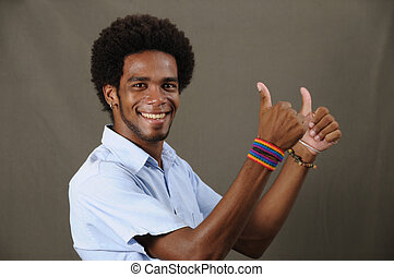 Cheerful latino man - Portrait of joung friendly african...