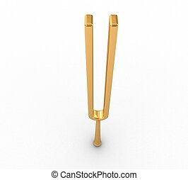 3d Retro tuning fork