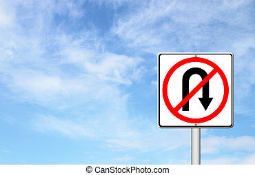 No return back road sign over blue sky blank for text