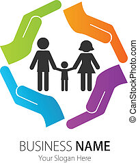 Business Logo Design Family Hands - Vector image for various...