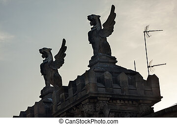 Stone Griffins Rooftop Barcelona Spain
