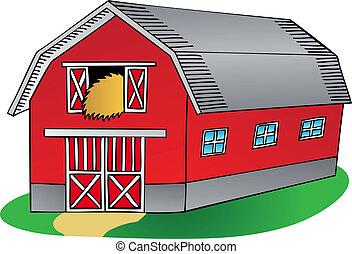 Barn on white background - vector illustration.