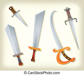 Vintage Swords, Knifes, broadsword And Saber Set -...