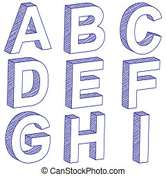 drawing 3D letter A-I