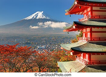 Mt. Fuji and Pagoda - Mt. Fuji viewed from behind Chureito...