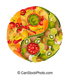 yin-yang of fruits and vegetables - symbol of yin yang with...