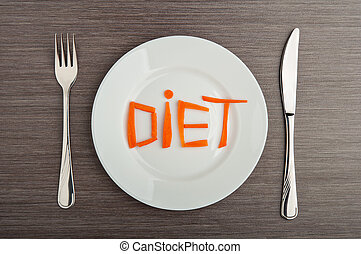 diet concept design food word diet carrots on plate - diet...