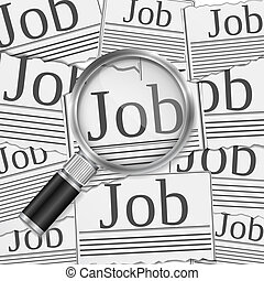 Job search concept with magnifying glass