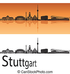 Stuttgart skyline in orange background in editable vector...