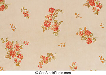 Seamless Floral Pattern With Red Flowers On wall