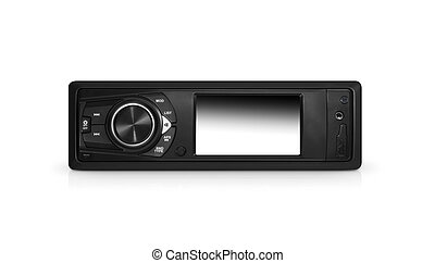 Modern car audio system isolated with clipping path over...