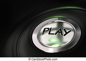 automobile button with play word over black background