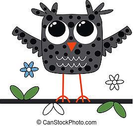 a grey owl
