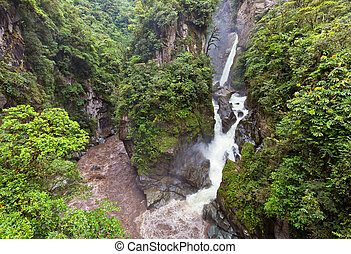 Andes, Ecuador - Mountain river and waterfall in the Andes,...