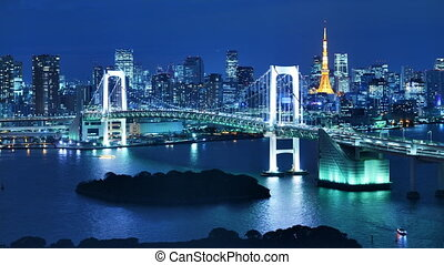 Tokyo Bay with Rainbow Bridge and Tokyo Tower in Tokyo,...