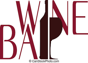 logo wine bar vector - logo wine bar with bottle and...