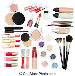 Cosmetics for makeup - Collection of make-up accessories on...