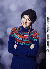 suéter, niña, encantador