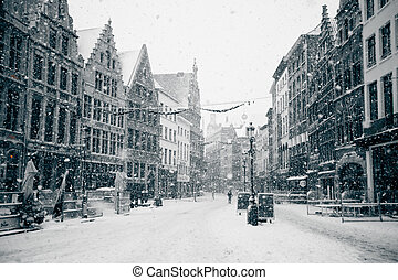Antwerp at Winter Snowstorm. Horizontal toned image