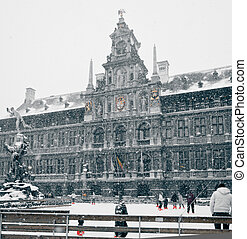 Antwerp at Winter Snowstorm. Toned image
