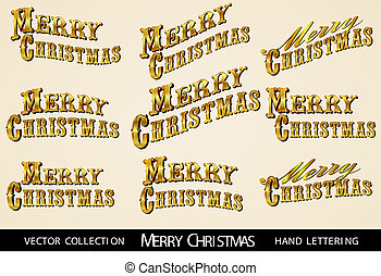 Gold Merry Christmas lettering