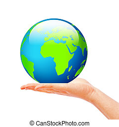 Hand holding globe, save planet concept