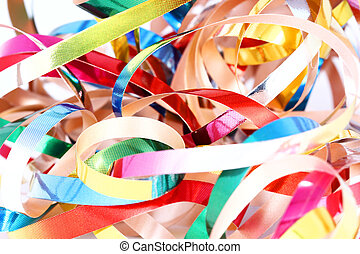 Party streamers isolated on white background. Close up
